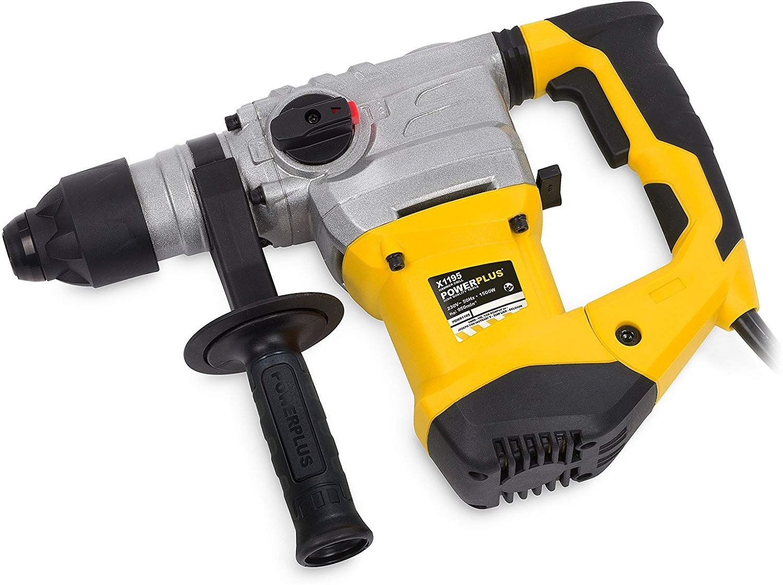 De Power Plus Boorhamer voor hameren (slagkracht), boren (rotatie), hamerboren (krachtige combinatie slagkracht rotatie) en beitelen (platte beitel in gewenste stand draaien)