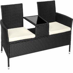 TecTake zitbank met tafeltje, van polyrotan, geschikt als tuinbank, inclusiefzitkussens