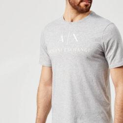 Armani Exchange T-shirt met AX en scriptlogo voor heren - grijs gespikkeld