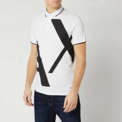 Armani  heren poloshirt met grote logo - wit