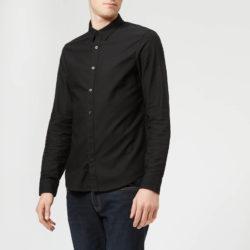 Armani Exchange heren slank getextureerd shirt met lange mouwen - zwart