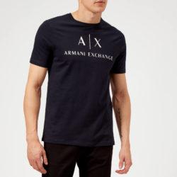 Armani  Heren AX en Script Logo T-shirt - Navy